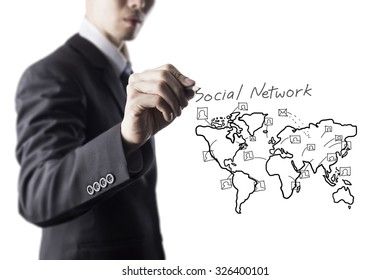 Businessman Draw World Map and Network Icon On Transparent Screen