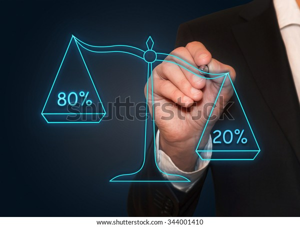 Businessman drawing 80%/20% neon scales , business concept