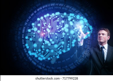 Businessman drawing abstract blue circuit brain on dark background. Artificial intelligence concept. 3D Rendering