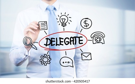 Businessman drawing abstract delegate sketch