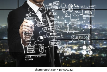 businessman drawing business concept in night office
