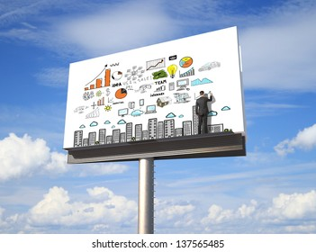 businessman drawing business concept on billboard