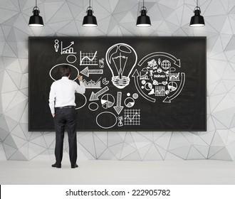 Businessman drawing a business flowchart.