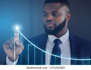 Businessman Drawing Business Growth Scheme On Transparent Screen On Blue Background, Collage