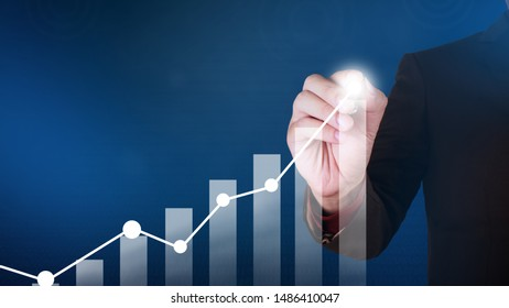 Businessman drawing business target diagram, performance indicator in virtual screeen, stock market infographic