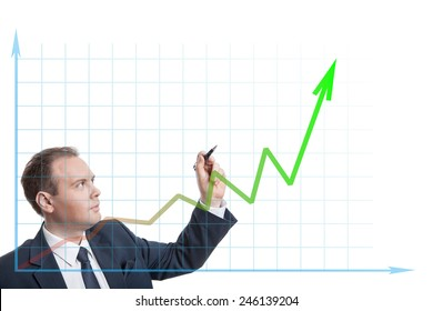 businessman drawing chart isolated