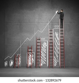 businessman drawing chart with three ladders