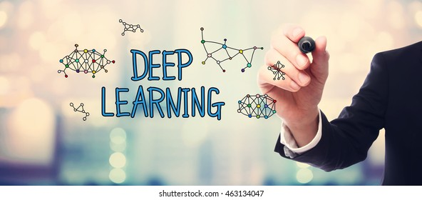 Businessman drawing Deep Learning concept on blurred abstract background