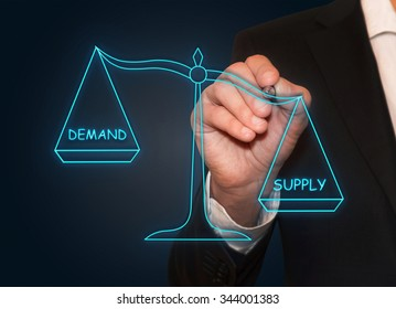 Businessman drawing Demand Supply neon scales , business concept