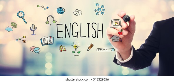Businessman drawing English concept on blurred abstract background