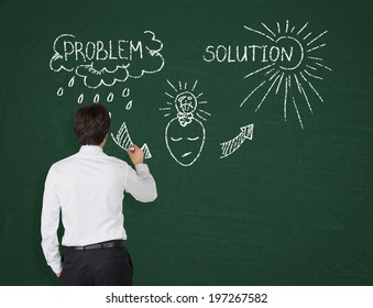 Businessman drawing a flow chart  'problems and solutions'