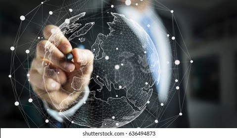Businessman drawing global network and data exchanges over the world 3D rendering