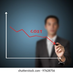 businessman drawing graph of cost reduction