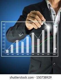 businessman drawing graph improve suggest more