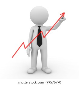Businessman drawing graph on white background