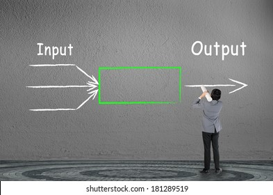 businessman drawing input output concept