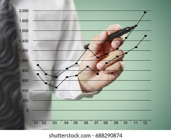 Businessman drawing line graphic of financial indicator and accounting market economy analysis with graph chart on visual screen, financial concept