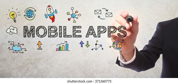 Businessman drawing Mobile Apps concept with a marker