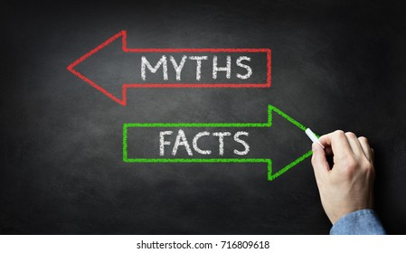 Businessman drawing Myths or Facts on blackboard concept