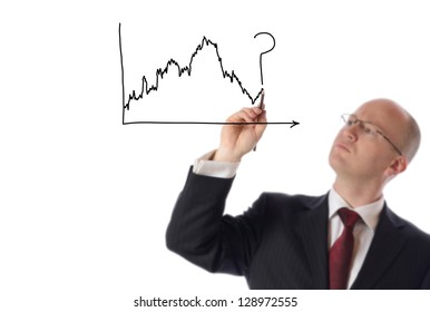 businessman drawing on copy space of stock market chart isolated on white