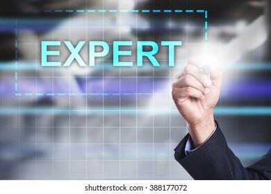 "Businessman drawing on virtual screen ""expert""."