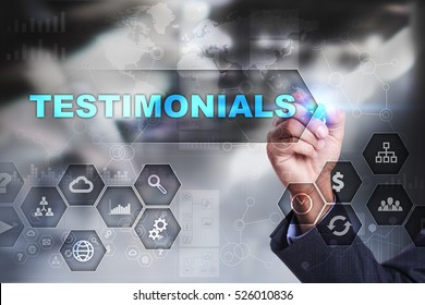 Businessman is drawing on virtual screen. testimonials concept.