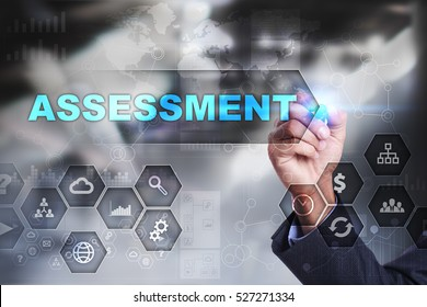 Businessman is drawing on virtual screen. assessment concept.