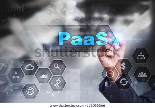 Businessman is drawing on virtual screen. paas concept.