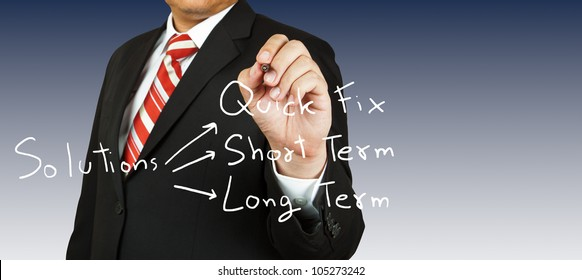 Businessman drawing for solution