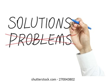 Businessman is drawing solutions concept with blue marker on transparent board isolated on white background.