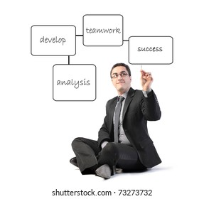 Businessman drawing a strategy scheme