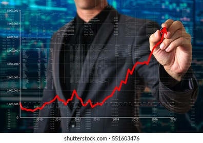 businessman drawing uptrend line concept of growth investing
