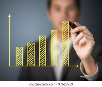 businessman drawing upward trend bar chart