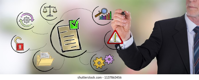 Businessman drawing a validation concept