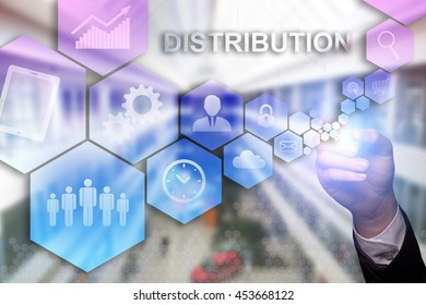 "Businessman draws ""Distribution"" on the virtual screen. Business concept. Internet concept."