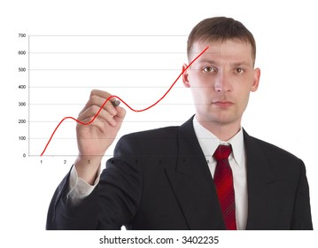 The businessman draws the schedule. On a white background.