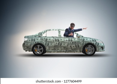Businessman driving car covered with us dollars
