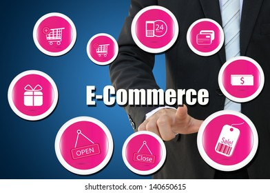 Businessman with E Commerce icon for business online concept