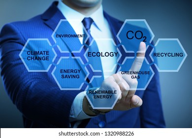 Businessman in ecology and environment concept