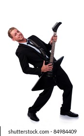 Businessman with electronic guitar