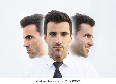 businessman with emotions, mad, calm and happy. Emotional controlling, mental health concept.