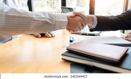 businessman employee candidate shaking hands with company leader HR manager or boss in office after successful negotiation, recruitment  career and placement interview concept