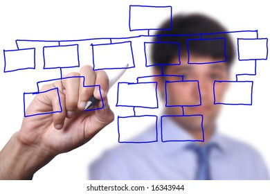businessman with an empty diagram