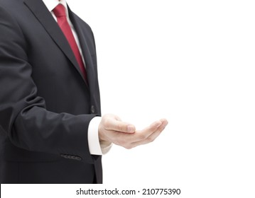 Businessman with empty hand isolated on white