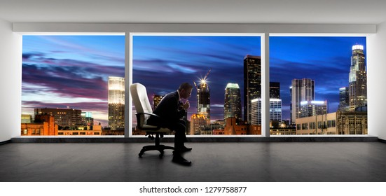 Businessman in an empty office for a startup or failure and bankruptcy in city of LA