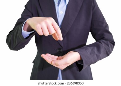 Businessman empty open cupped hands