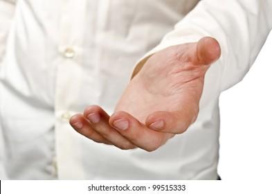 Businessman empty open hand. Studio shot