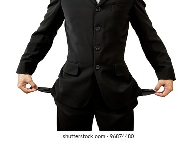 Businessman with empty pockets on white background