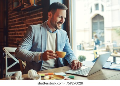 Businessman enjoying coffee and doing his freelance job.
