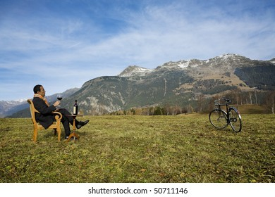 Businessman enjoying nature
